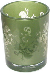 Candle Accessory - Glass Ornate Green Votive Holder - Hampton Court Essential Luxuries