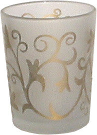 Candle Accessory - Frosted Gold Scroll Votive Holder