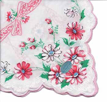 Vintage-Inspired Hanky - White Hanky with Pink Daisys