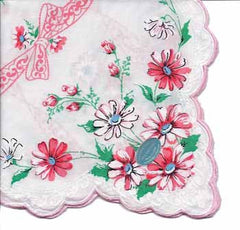 Vintage-Inspired Hanky - White Hanky with Pink Daisys - Hampton Court Essential Luxuries