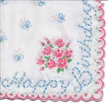 Vintage-Inspired Hanky - Happy Birthday Forget-me-Not Hanky with Rose Bouquet
