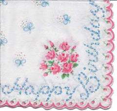 Vintage-Inspired Hanky - Happy Birthday Forget-me-Not Hanky with Rose Bouquet - Hampton Court Essential Luxuries