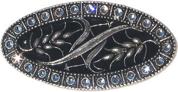 La Vie Parisienne Oval Black Enamel Wheat Pin with Austrian Crystals