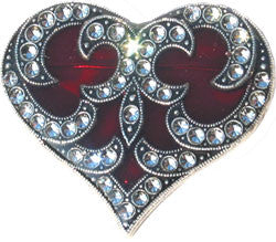 La Vie Parisienne Red Heart Enamel Pin with Austrian Crystals