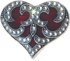 La Vie Parisienne Red Heart Enamel Pin with Austrian Crystals - Hampton Court Essential Luxuries