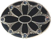 La Vie Parisienne Antique Black Enamel Flower Pin
