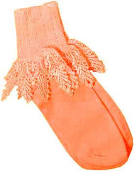 Catherine Cole Studio Lace Cuff Sock - Mango - Hampton Court Essential Luxuries