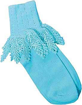 Catherine Cole Studio Lace Cuff Sock - Lagoon