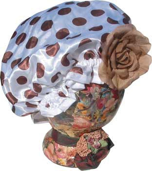 Fancy Shower Cap - White with Polka Dots