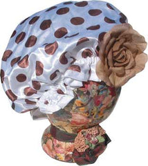 Fancy Shower Cap - White with Polka Dots - Hampton Court Essential Luxuries