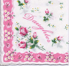 Vintage-Inspired Hanky - Daughter Hanky with Scalloped Border - Hampton Court Essential Luxuries