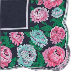 Vintage-Inspired Hanky - Black Hanky with Large Open Peonies - Hampton Court Essential Luxuries