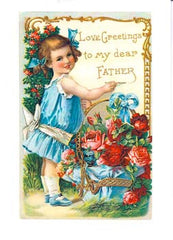 Father's Day Greeting Card - Victorian Girl with Flower Basket - Hampton Court Essential Luxuries
