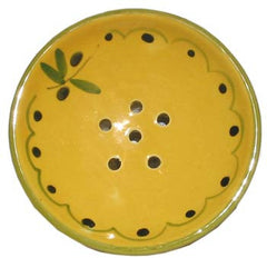 French Faience Soap Dish - Round Olive - Hampton Court Essential Luxuries