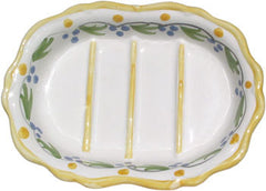 French Faience Soap Dish - Oval Yellow - Hampton Court Essential Luxuries