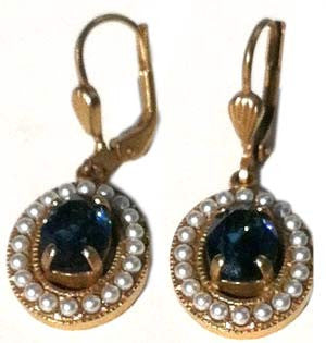 La Vie Parisienne Gold Oval Earring - Montana Crystal & Pearls