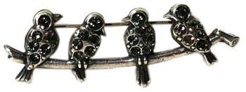 La Vie Parisienne Antique-Silver Bird Pin