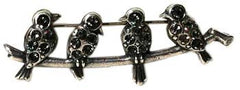 La Vie Parisienne Antique Silver Bird Pin - Hampton Court Essential Luxuries