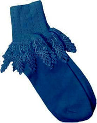 Catherine Cole Studio Lace Cuff Sock - Teal - Hampton Court Essential Luxuries