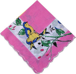 Vintage-Inspired Hanky - Blue and Yellow Finches Perching on a Blossoming Tree