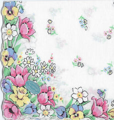 Vintage-Inspired Hanky -Assorted Spring Flowers  Hanky