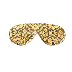 Elizabeth W Silk Sleep Mask - Black Gold Damask