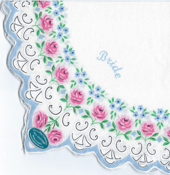 Vintage-Inspired Hanky - Bride Hanky with Petite Pink Roses