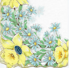 Vintage-Inspired Hanky - Daffodils with Blue Daisies Hanky