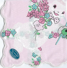 Vintage-Inspired Hanky - Easter Bunny Holding Bouquet on Pink Hanky