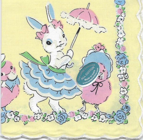 Vintage-Inspired Hanky - Easter Bunny with Parasol Hanky