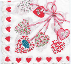 Vintage-Inspired Hanky - Floral Hearts and Red Heart Border Hanky