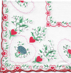 Vintage-Inspired Hanky - Lacey Heart Corner with Lily of the Valley