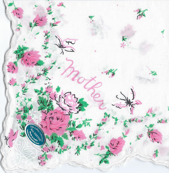 Vintage-Inspired Hanky - Mother with Roses & Butterflies  Hanky