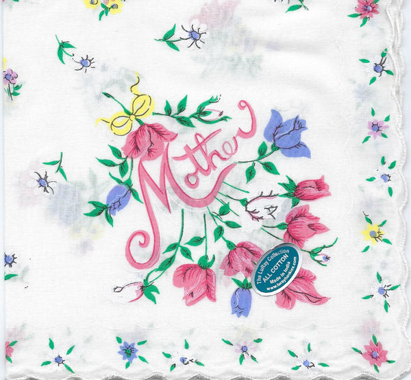 Vintage-Inspired Hanky - Mother with Delicate  Flower Border Hanky