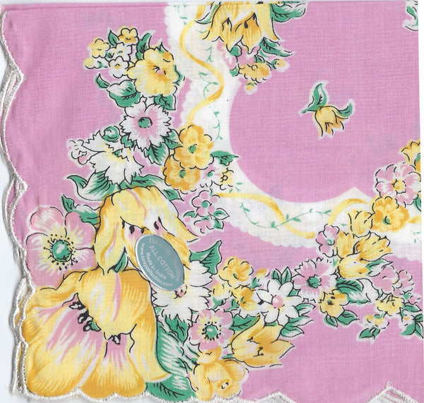 Vintage-Inspired Hanky -  Pink with Large Yellow Flowers Hanky