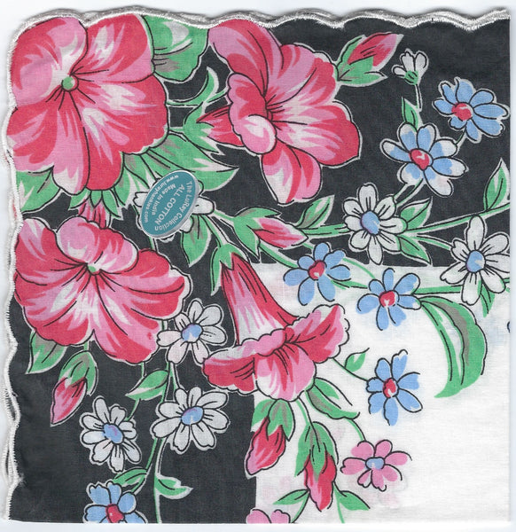 Vintage-Inspired Hanky - Pink Petunias on Black Border Hanky