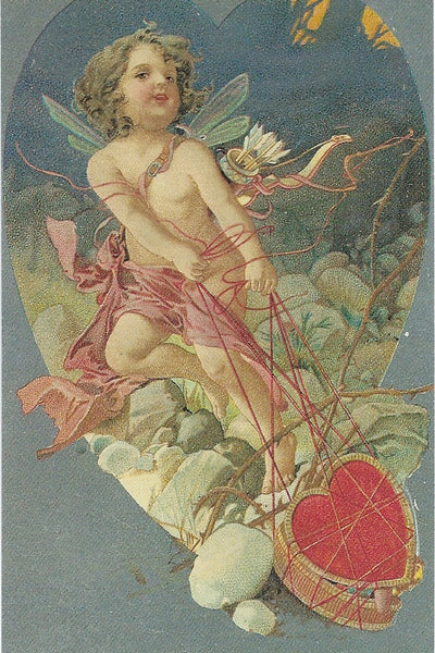 Valentine Postcard - Cherub with Heart Box