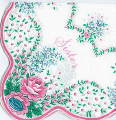 Vintage-Inspired Hanky - Sister with Large Scalloped Border  Hanky