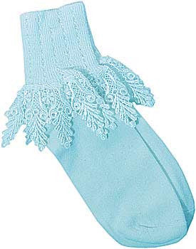 Catherine Cole Studio Lace Cuff Sock - Sky Blue