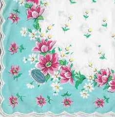 Vintage-Inspired Hanky -  Pink Flowers with Swirly Border  Hanky