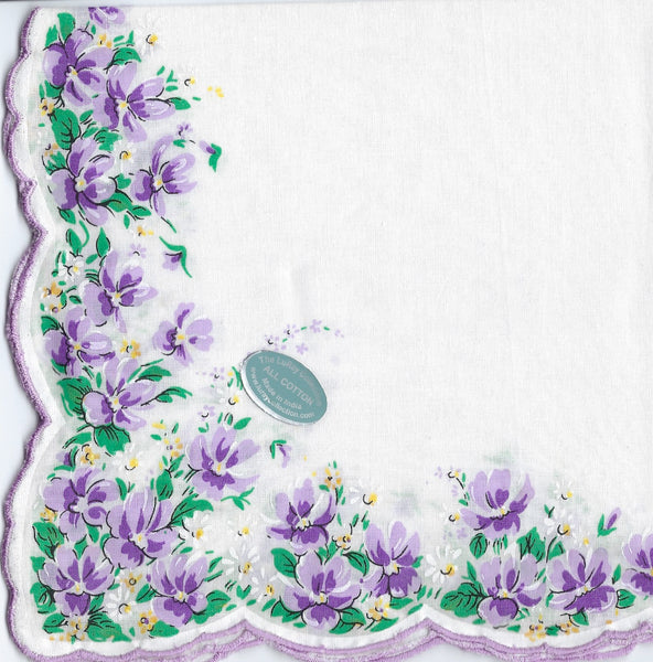 Vintage-Inspired Hanky -Violet Border on White