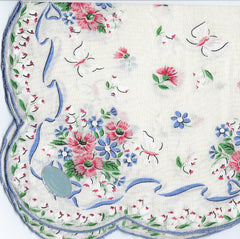 Vintage-Inspired Hanky -White Hanky with Pink Sweet Williams & Blue Ribbon Border