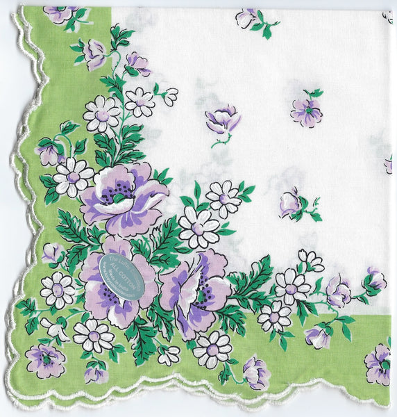 Vintage-Inspired Hanky - Wildflowers with Green Border Hanky