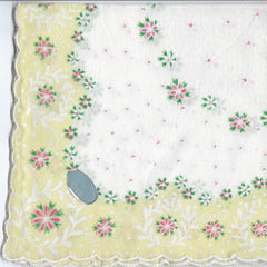 Vintage-Inspired Hanky - Yellow Border with Petite Flower Design  Hanky