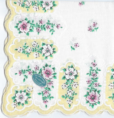 Vintage-Inspired Hanky -White & Yellow Hanky with Pink & White Flowers