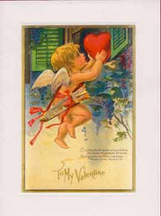 Valentine's Day Greeting Card - Cupid's Watching Round Your Home Sparkle Card