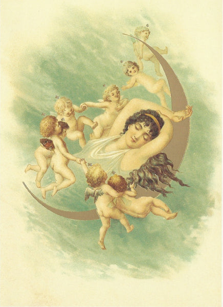 All Occasion Greeting Card -Moon Cherubs
