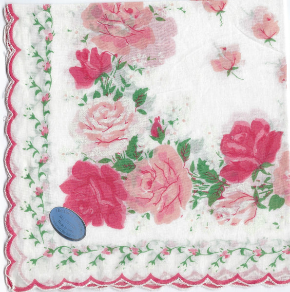 Vintage-Inspired Hanky - Light & Dark Pink Open Roses