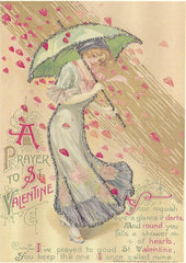 Valentine Greeting Card -A Prayer to St.Valentine Glitter Card