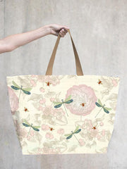 TokyoMilk Tote Bag - ROSE WITH BEES & DRAGONFLIES LARGE TOTE